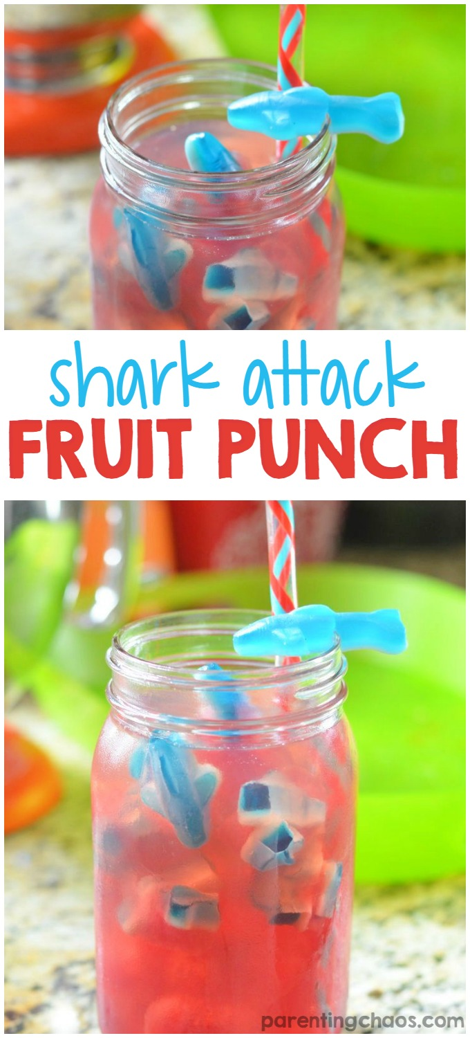 It's Shark Week this week on Discovery. It's a wonderful way to get children involved in learning about shark safety, the marine habitats, and the conservation of our marine life. That doesn't mean it has to be boring. You can jazz up the TV time with fun fact sheets and this Shark Attack Punch that you can make for each child individually.