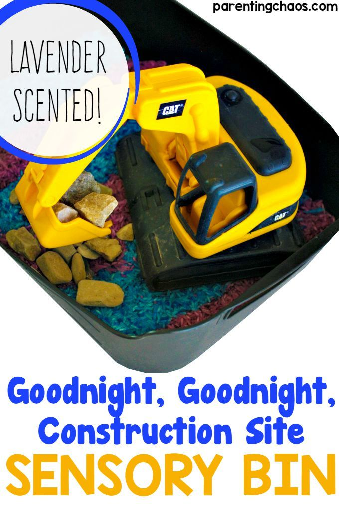 Goodnight, Goodnight, Construction Site Lavender Sensory Bin