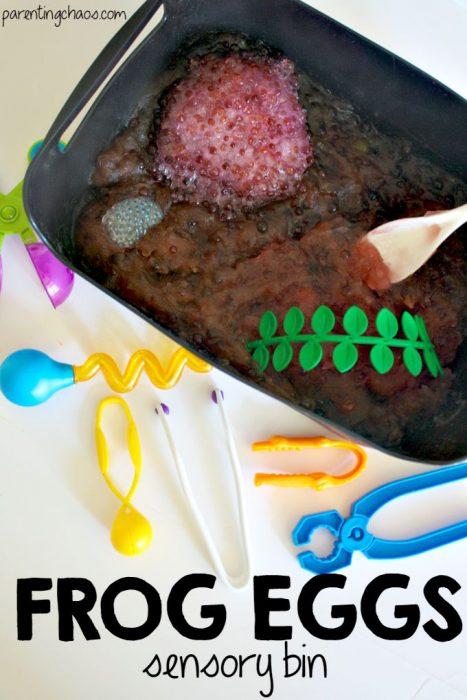 Frog Egg Slime! A Slippery Squishy Sensory Bin