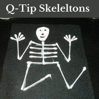 Halloween Kid Crafts: Q-Tip Skeleltons