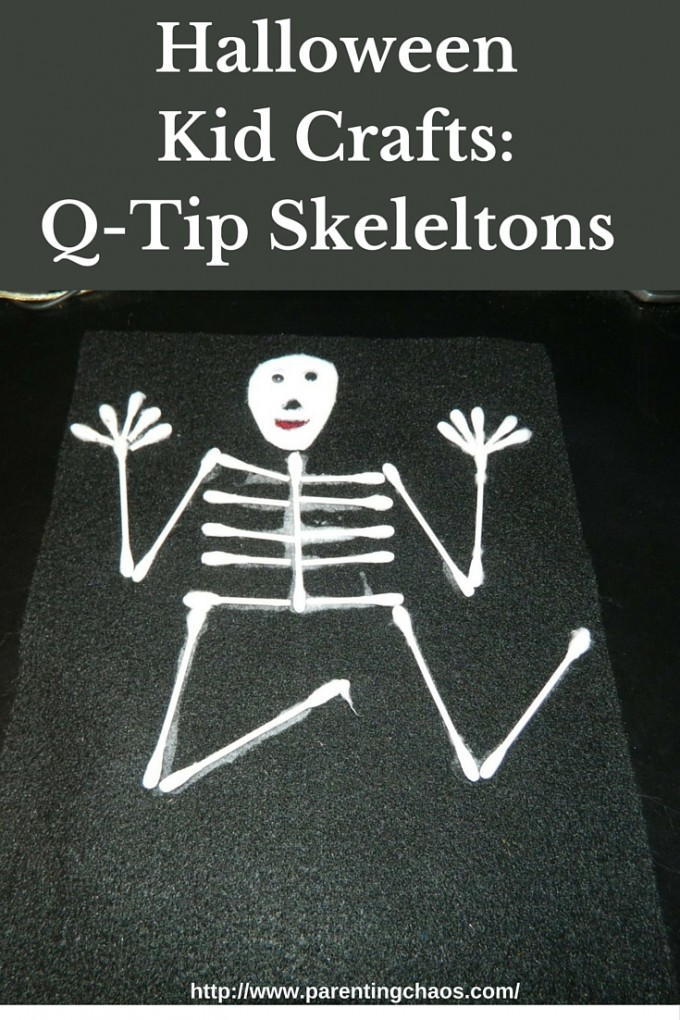 Halloween kid crafts q tip skeletons for Q tip skeleton craft template