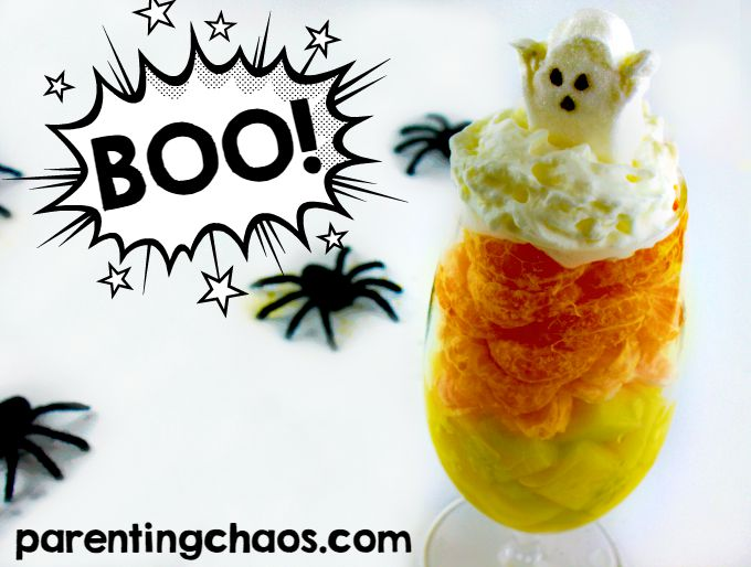 Healthy Halloween Parfait -- I LOVE how it looks like a Candy Corn!
