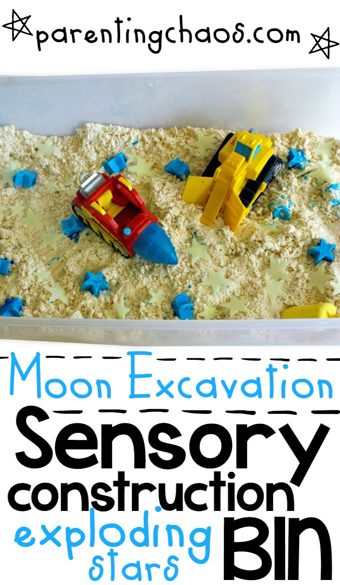 Moon Excavation! Construction Sensory Bin with Exploding Stars