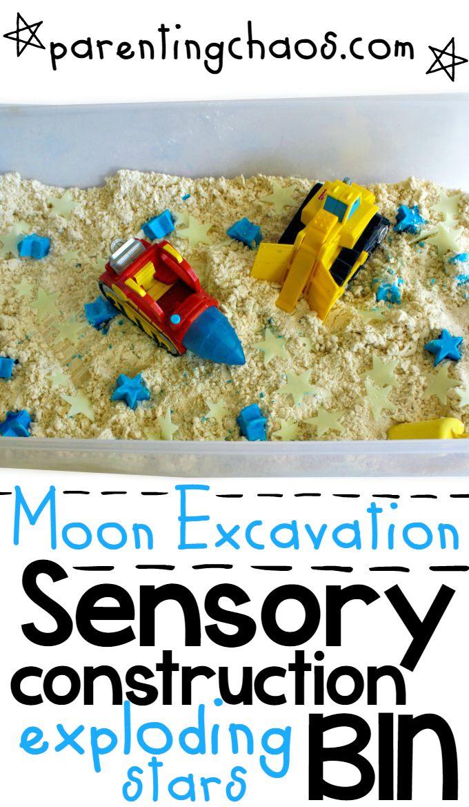 Moon Excavation! Construction Sensory Bin with Exploding Stars
