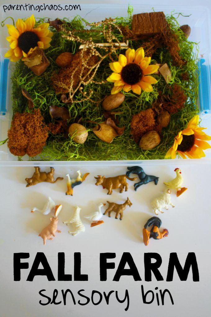 Fall Farm Sensory Bin