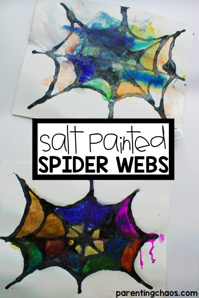 Am loving how beautiful these salt painted spider webs are!