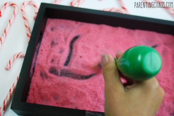 This peppermint sensory writing tray is an awesome way to work on sight words while getting some sensory exploration!