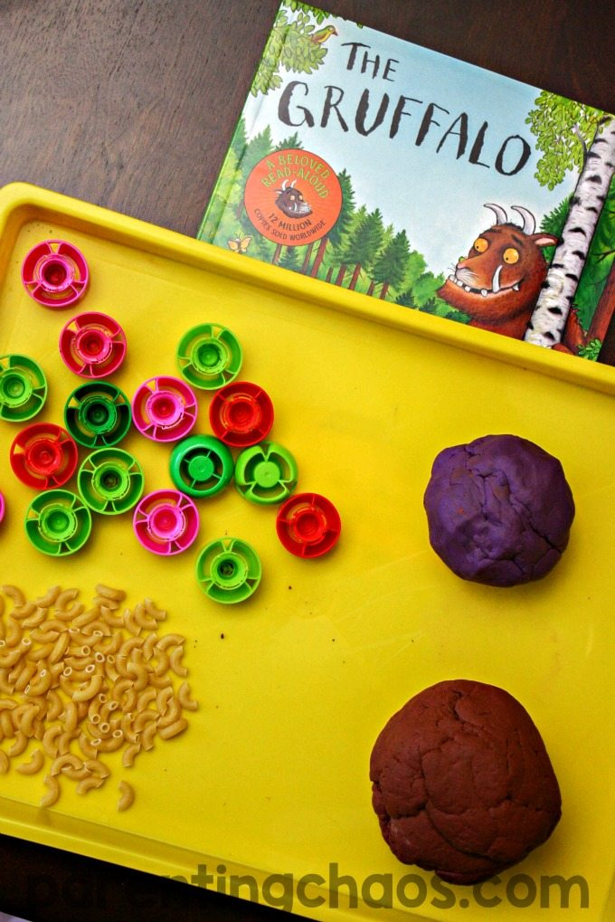 This simple invitation to create Gruffalo Play Dough is a fantastic way to spend time together while exploring this classic story!