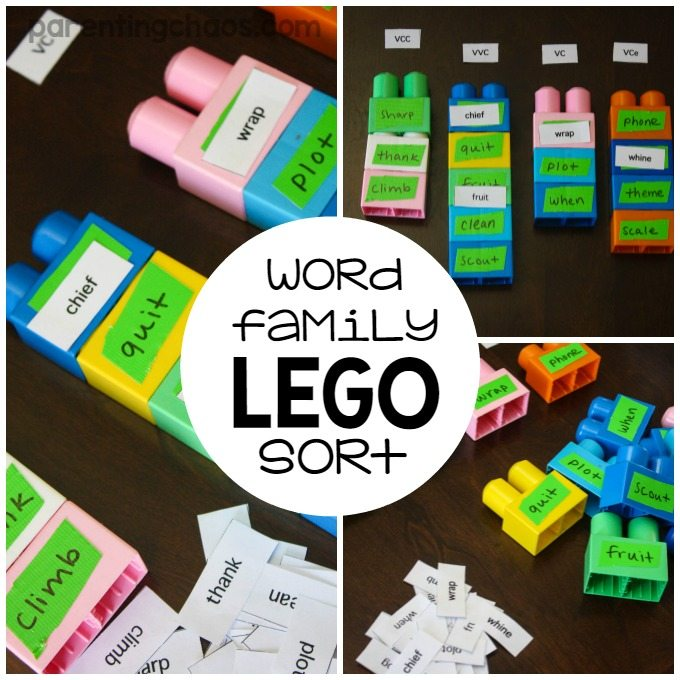 This game of word families lego sort is an awesome way to work on a Words Their Way spelling list!