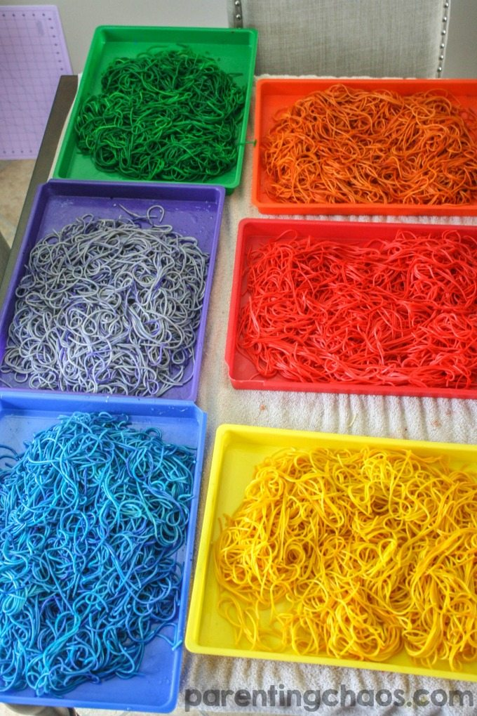 This is by far the best method I have found on How to Dye Rainbow Spaghetti for sensory play!