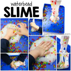 Learning how to make waterbead slime is a super fun science activity! Plus it is a fun sensory bin to play with afterwards!