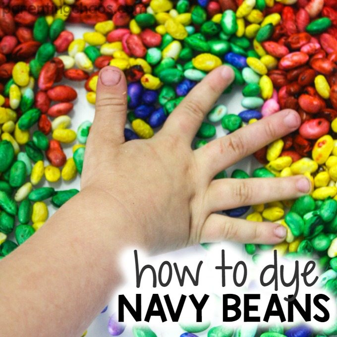 How to Color Rainbow Navy Beans for Sensory Play