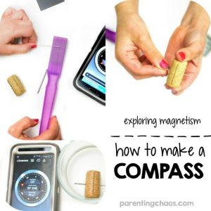 Explore magnetic force with this simple science experiment for kids that will teach them how to make a compass!