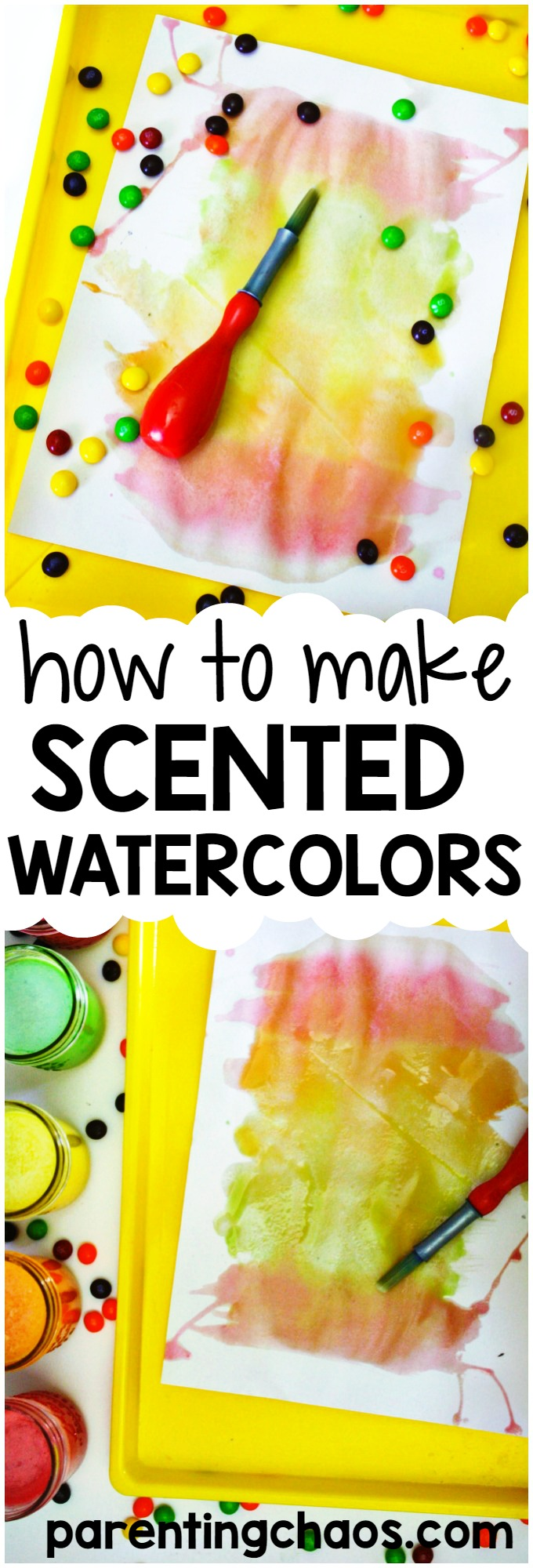Make scented watercolors at home with these simple DIY Skittles Candy Paint! My kids loved playing with this scratch-n-sniff-paint!