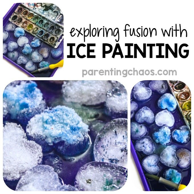This simple kids activity of Salt Painting with Salt was an excellent STEAM activity for exploring fusion and why ice melts.