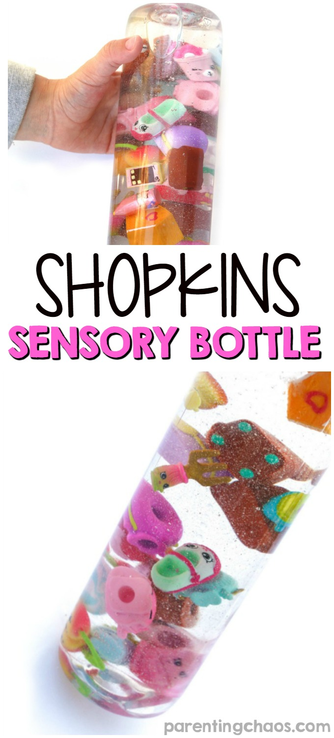 Make your own Shopkins sensory bottle! These are perfect to use as calm down bottles, play I-Spy, and to show off kids collections!