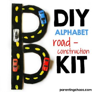 This DIY Alphabet Road Construction Kit will help your child learn their lower and upper case letters through hands on play!