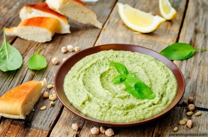 Basil Pesto Hummus ⋆ Parenting Chaos