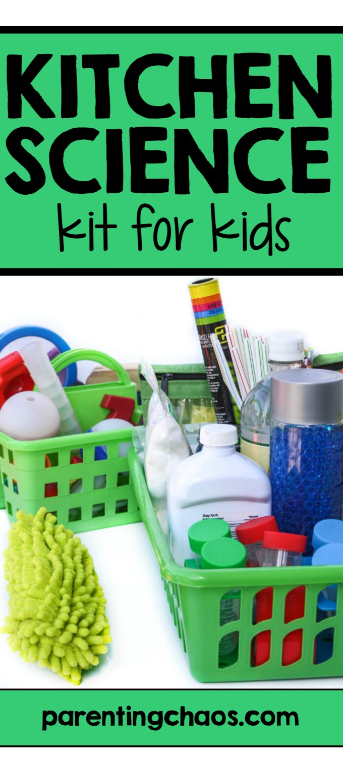 This Kitchen Science Kit for Kids is our easy solution for keeping everything we might need in one easy to reach place.