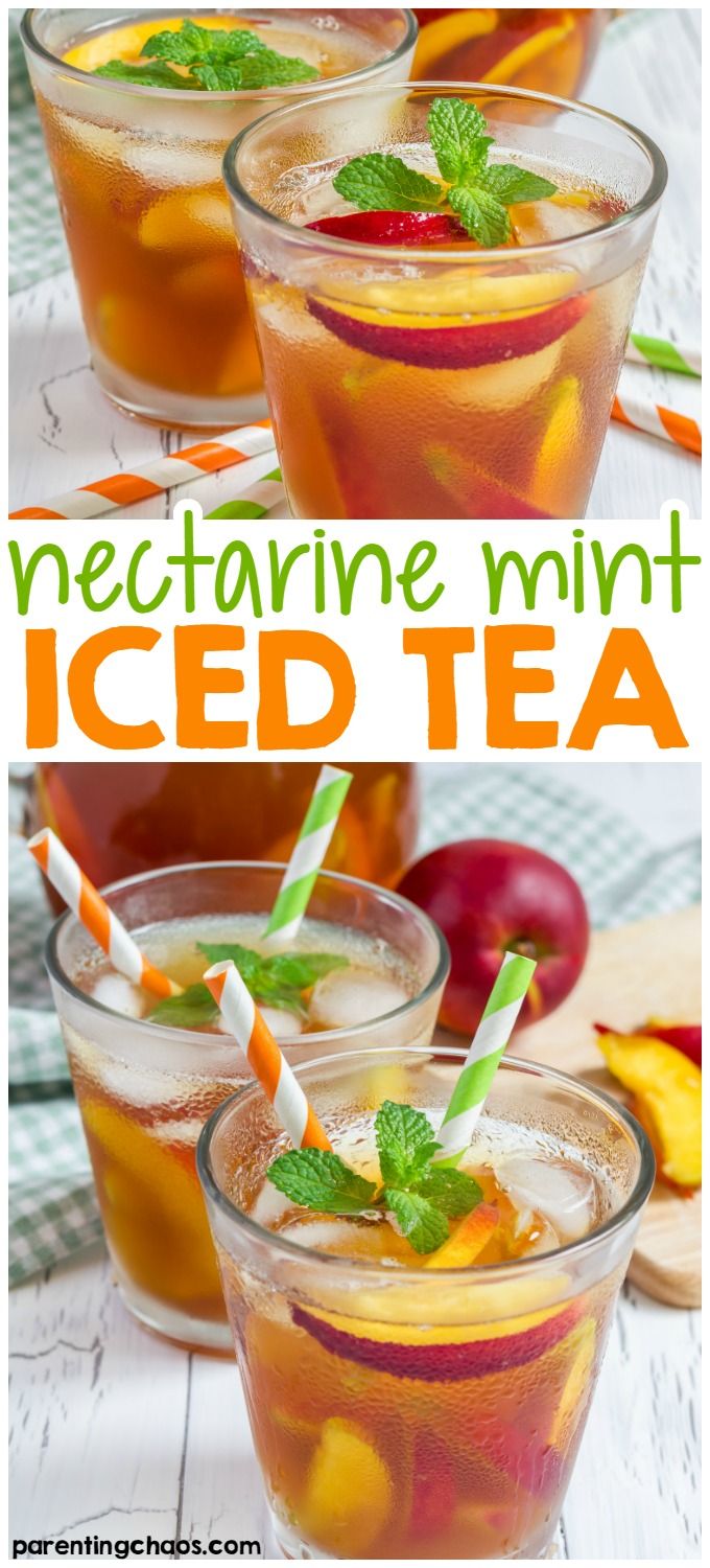 This Nectarine Mint Sweet Tea is the perfect combination of everything summer mixed up into one refreshingly icy drink.