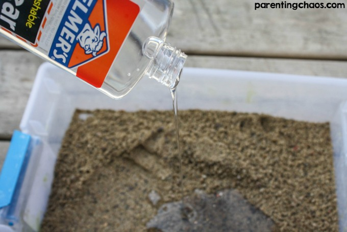 Homemade Sand Slime is a perfect summer sensory science activity.