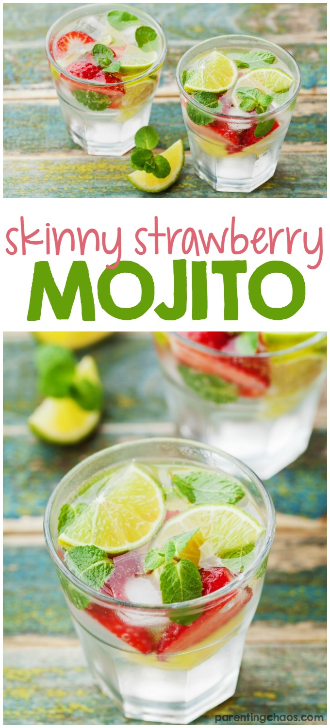 This Skinny Strawberry Mojito is made with fresh mint, sweet strawberries, and Stevia. Such a delicious and refreshing drink perfect for summer!