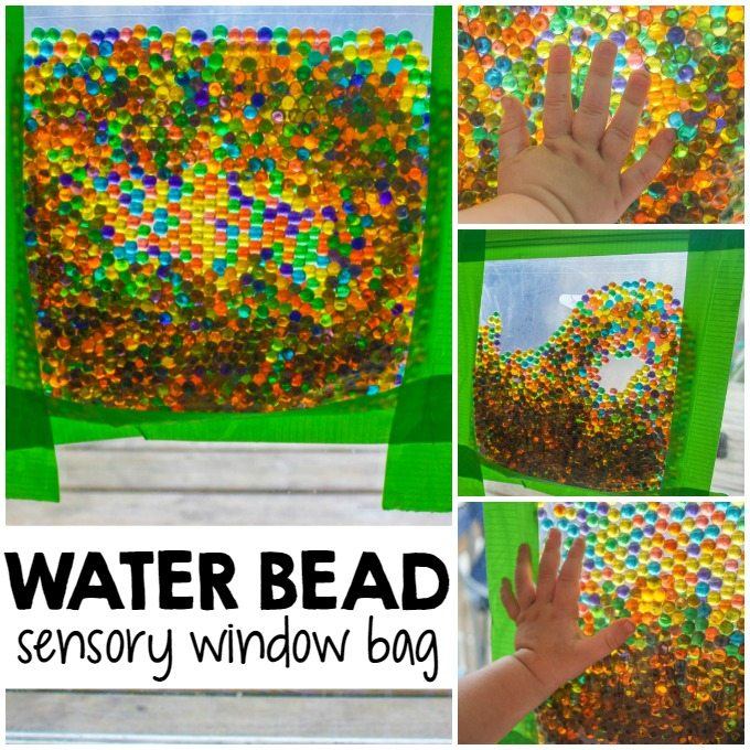 This water bead sensory window bag is one of our favorite ways to distract the kids with mess-free sensory play...the perfect solution when you need a moment to tackle the mess! #SCJMessyMoments