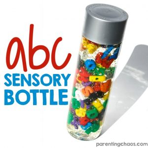 Combine literacy and sensory in this super easy Alphabet Sensory Bottle.