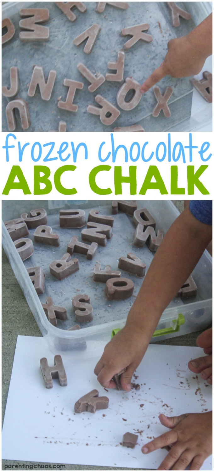 Frozen chocolate ABC chalk is made from basic household ingredients & is a great messy play, sensory, science & painting experience for kids of all ages.