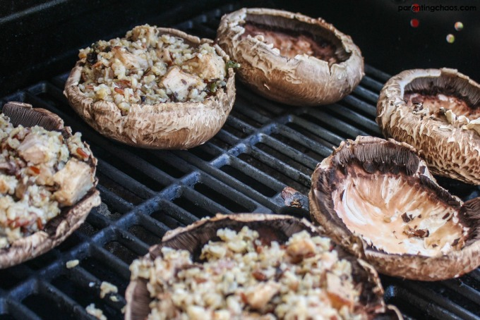 Grilled Portabello Mushrooms with Pork, Rissoto, and Cheese are a fun stuffed mushroom recipe for the grill!
