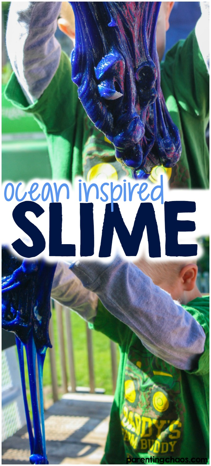 A recipe for super stretchy glitter slime that looks just like the ocean!