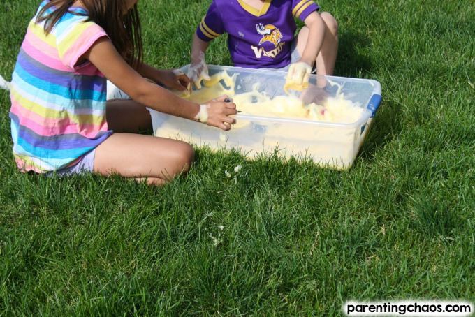 Make Orange Scented soap foam with the kids for a super engaging sensory activity