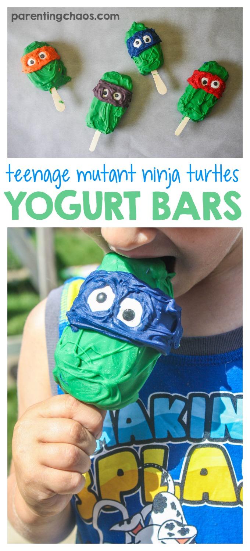 Easy Teenage Mutant Ninja Turtle Frozen Yogurt Bars