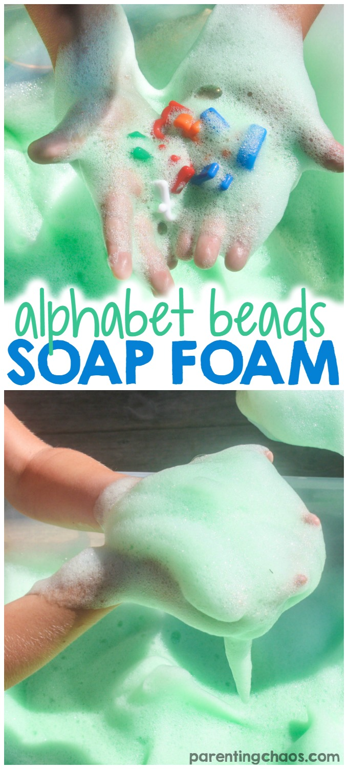 Want to explore sensory play with your kids but not quite sure about the mess? Then this Alphabet Beads Soap Foam Sensory Bin is for you! Quick and simple to make and extremely easy to clean up, soap foam is definitely one of our favs!