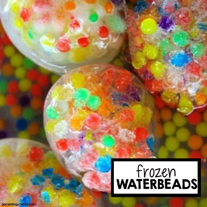 Frozen Water Bead Sensory Bin