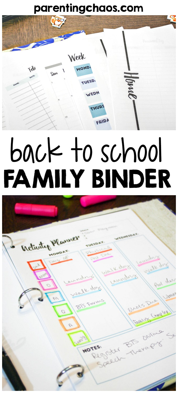 Back to School Family Binder Kit