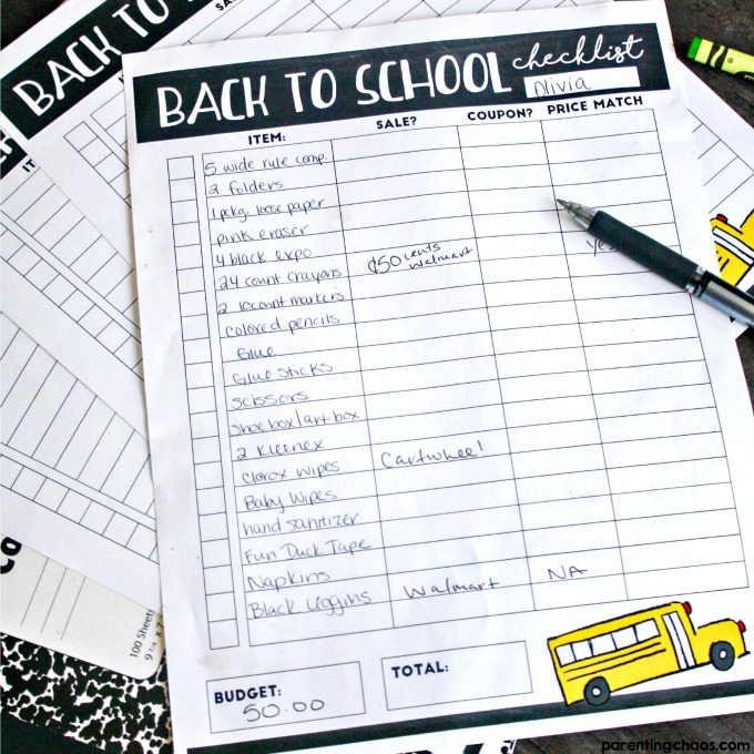 Save Money on Back to School Shopping with This Printable!