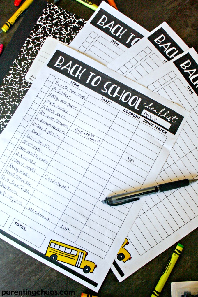 Using this printable I was able to do Back to School Shopping for under $20 per child!