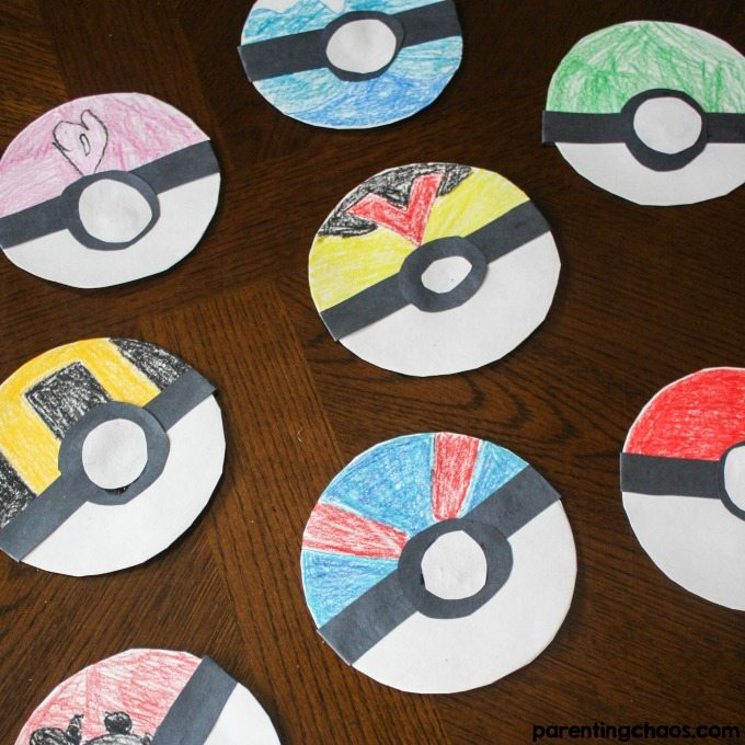 This simple Poké Ball Paper Plate Craft is a fun activity to get kids creatively working & Poké Balls Paper Plate Craft for Kids ? Parenting Chaos