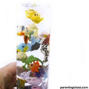 Create your own Pokémon sensory bottles for fun way to calm down for kids. These would even be great for I-Spy!