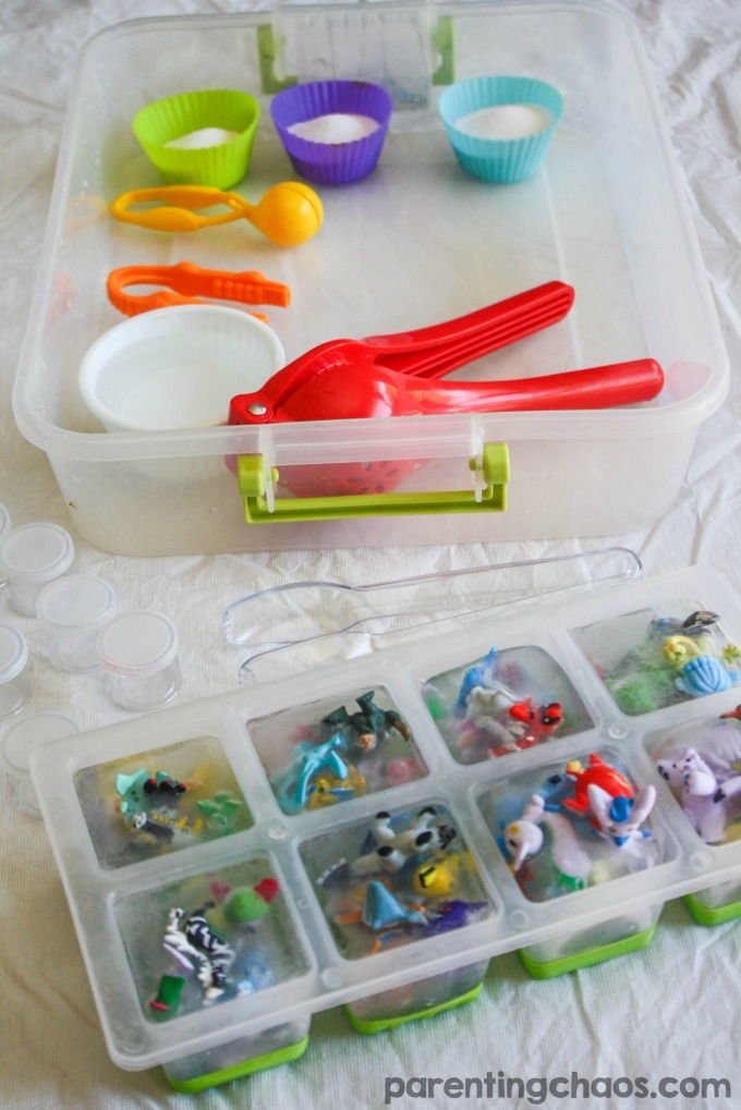 Kids will have a blast freeing their Pokémon friends in this Icy Pokémon Sensory Bin