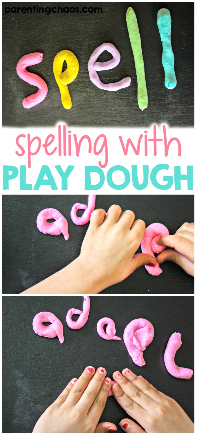 Spelling with Play Dough is a fun way to help kids grasp the spelling of words easier.