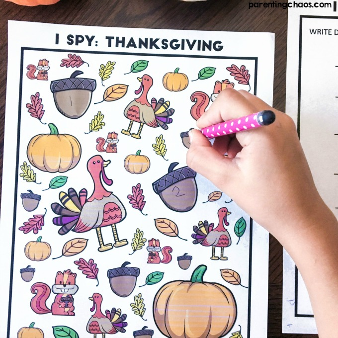 Free Thanksgiving I-Spy Printable Game for Kids