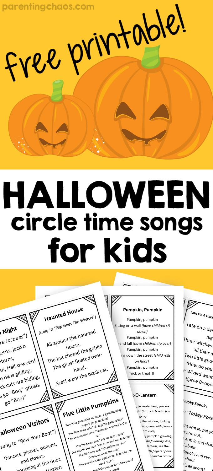 picture regarding Five Little Pumpkins Poem Printable named Halloween Tunes for Circle Period ⋆ Parenting Chaos
