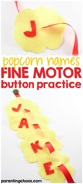 Popcorn Names Fine Motor Button Practice