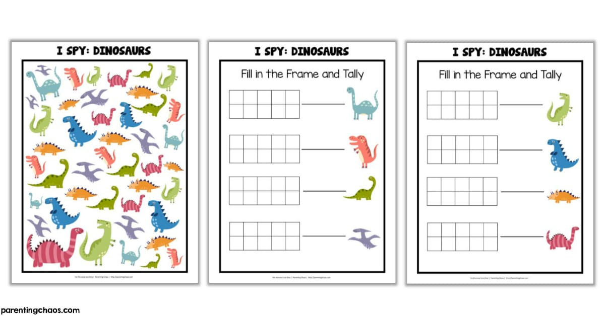 photograph regarding I Spy Printable named Dinosaurs I Spy Printable ⋆ Parenting Chaos