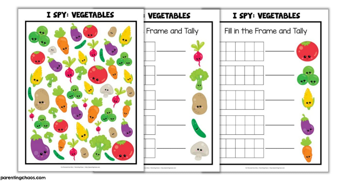 picture about Vegetable Printable named Greens I Spy Printable ⋆ Parenting Chaos