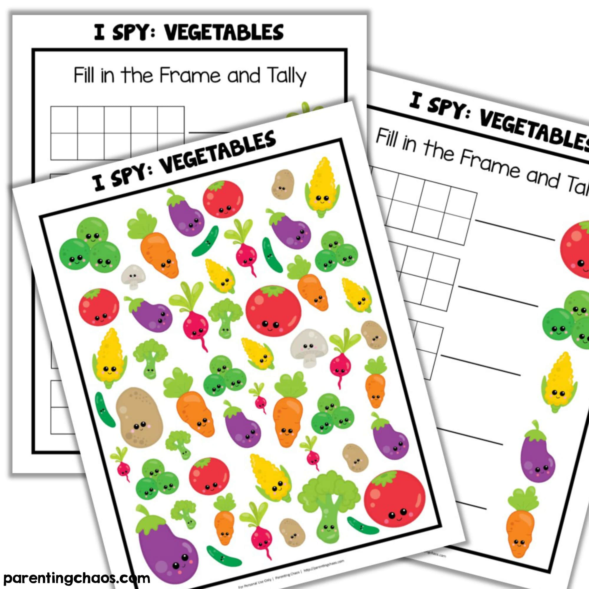 picture about Printable Vegetables referred to as Veggies I Spy Printable ⋆ Parenting Chaos