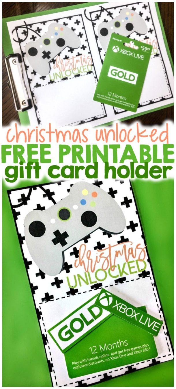 christmas unlocked printable xbox gift card holder ⋆