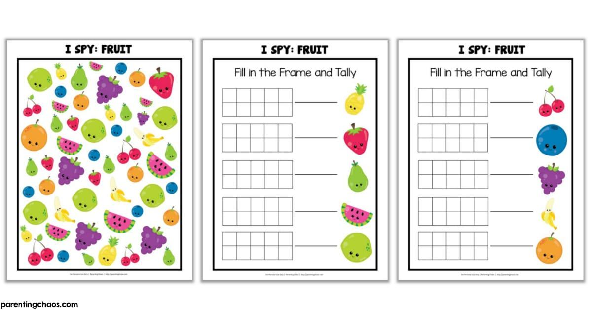 Fruit I Spy Printable Game